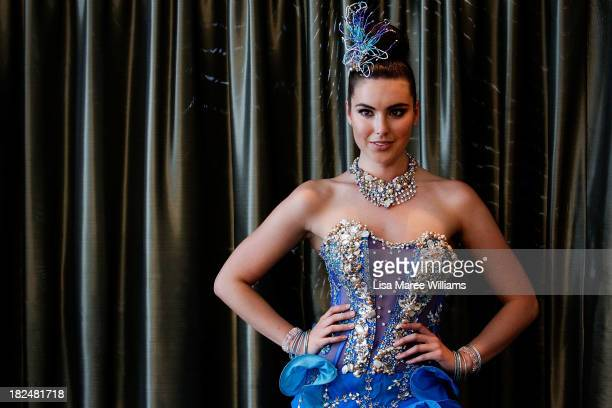Miss Universe Australia Olivia Wells showcases the winning costume design by Jason Chetcuti during the Australian National Costume Show on September...