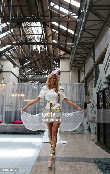 Miss Universe Australia Renee Ayris walks the catwalk at the unveiling of the Australia National Costume on November 21 2012 in Sydney Australia