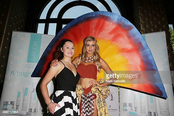 Miss Universe Australia Tegan Martin poses with designer Caitlin Holstock at the Elucent Skincare National Costumer Winner announcement show at...