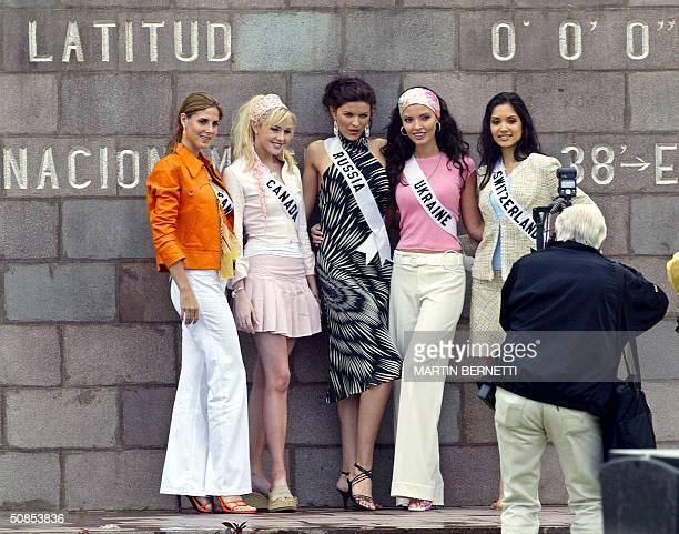 Miss Universe candidates Jessica Patricia Rodriguez of Panama Venessa Fisher of Canada Kseniya Kustova of Russia Oleksandra Nikolayenko of Ukraine...