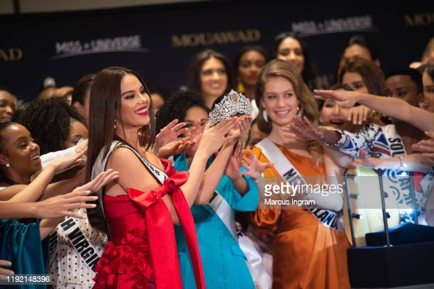 Miss Universe Catriona Gray and Pascal Mouawad unveil the new Miss Universe crown on December 5 2019 at Marriott Marquis in Atlanta GA Designed by...