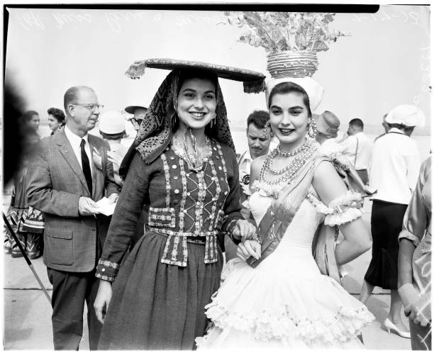 Miss Universe contest 17 July 1958 Tomoko Moritake l Alica Vallejo Miss Costa RicaMiss PeruAdalgisa Colombo Marily Collimopoulon Donna Kay Brooks...