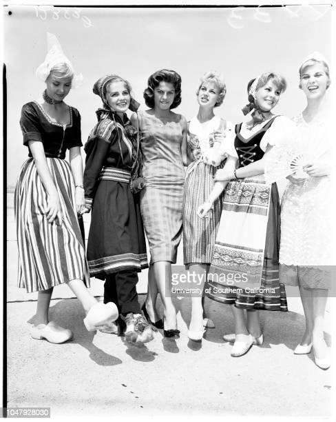 Miss Universe contest, 17 July 1958. Tomoko Moritake l Alica Vallejo ;Miss Costa Rica;Miss Peru;Adalgisa Colombo ;Marily Collimopoulon ;Donna Kay...