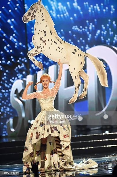 Miss Universe contestant Ida Ovmar of Sweden presents during the national costume and preliminary competition of the Miss Universe pageant at the...