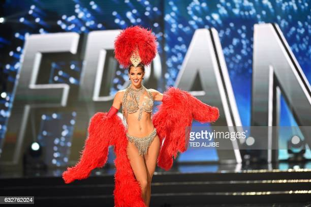 Miss Universe contestant Iris Mittenaere of France presents during the national costume and preliminary competition of the Miss Universe pageant at...