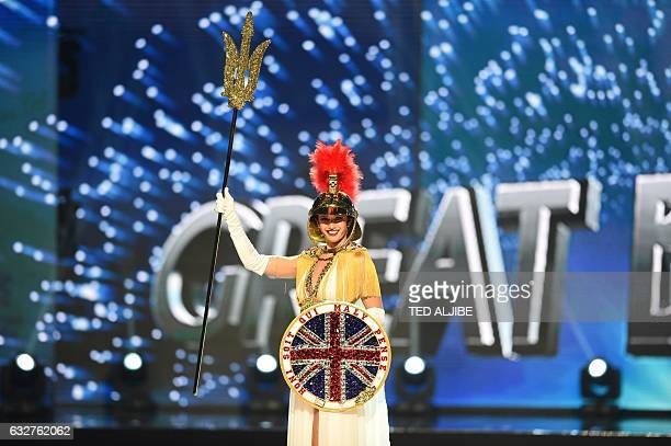 Miss Universe contestant JaimeLee Faulkner of Britain presents during the national costume and preliminary competition of the Miss Universe pageant...