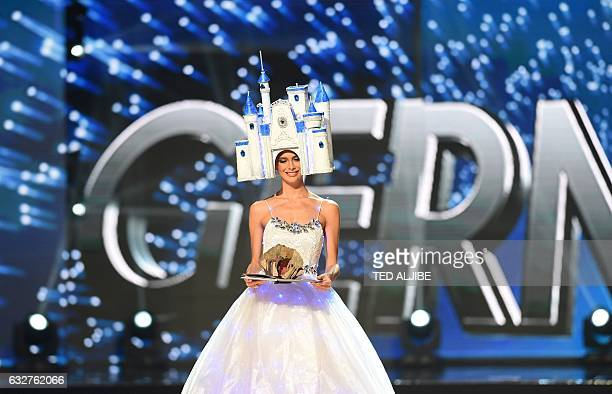 Miss Universe contestant Johanna Acs of Germany presents during the national costume and preliminary competition of the Miss Universe pageant at the...