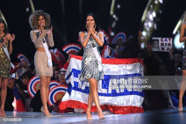 Miss Universe contestant Sophida Kanchanarin of Thailand reacts after being selected as top 10 finalist during the 2018 Miss Universe Pageant in...