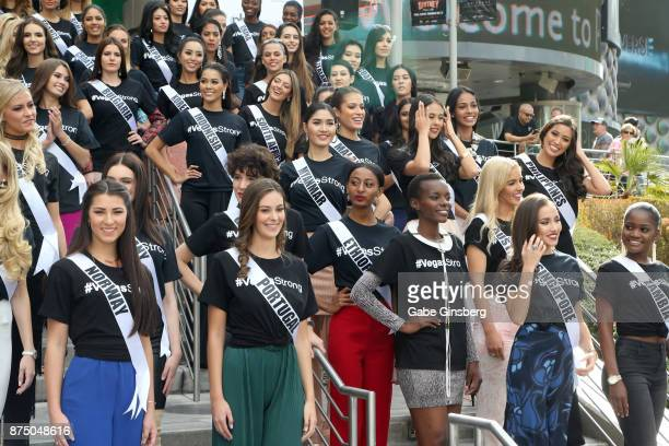 Miss Universe contestants attend a welcome event at Planet Hollywood Resort Casino on November 16 2017 in Las Vegas Nevada