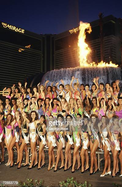 Miss Universe contestants from around the world pose in front of the Mirage Hotel for a 1991 Las Vegas Nevada group photo