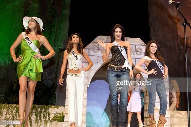 Miss Universe contestants Maria Jeffery of Belize Jessica Jordan Burton of Bolivia 2007 Natalia Guimares of Brazil and Gergana Kochanova of Bulgaria...