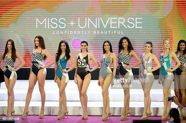 Miss Universe contestants participate in a swimwear fashion show in Cebu City central Philippines on January 17 2017 The Miss Universe Pageant will...