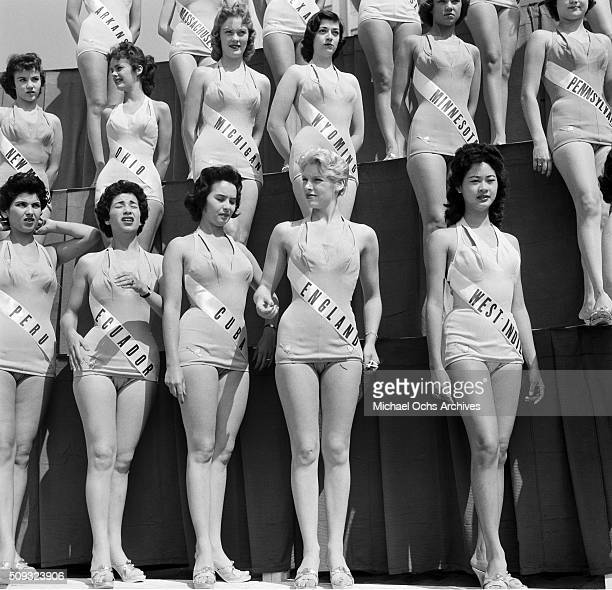 Miss Universe Contestants poses in Long Beach California