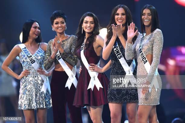 Miss Universe contestants Sophida Kanchanarin of Thailand H'Hen Nie of Vietnam Manita Devkota of Nepal Catriona Gray of Philippines and Tamaryn Green...