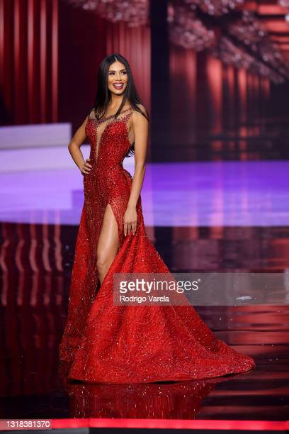 Miss Universe Costa Rica Ivonne Cerdas Cascante appears onstage at the 69th Miss Universe competition at Seminole Hard Rock Hotel & Casino on May 16,...