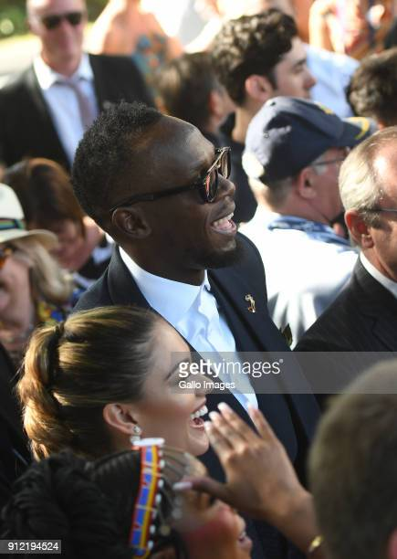 Miss Universe DemiLeigh NelPeters and Usain Bolt during the 2018 Sun Met at Kenilworth Racecourse on January 27 2018 in Cape Town South Africa The...