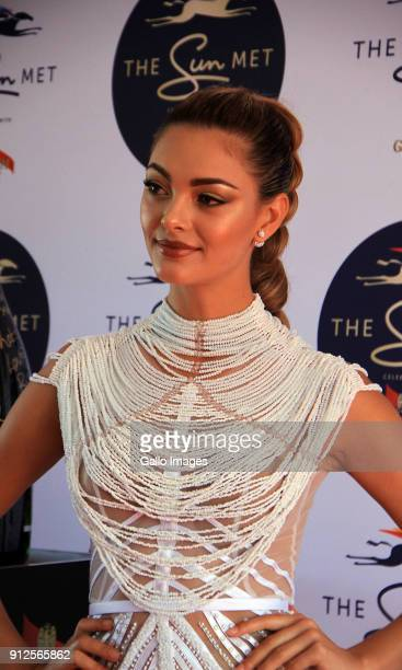 Miss Universe DemiLeigh NelPeters on the red carpet prior to the 2018 Sun Met Celebrated with GH Mumm at Kenilworth Racecourse on January 27 2018 in...