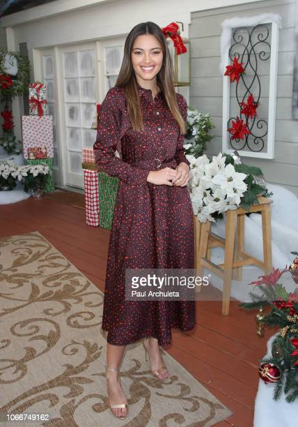 Miss Universe DemiLeigh NelPeters visits Hallmark's Home Family at Universal Studios Hollywood on November 12 2018 in Universal City California