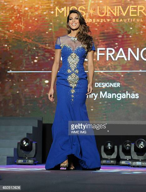 Miss Universe France Iris Mittenaere on the runway during the National Gift Auction fashion show at the Conrad Hotel in Manila Philippines on January...