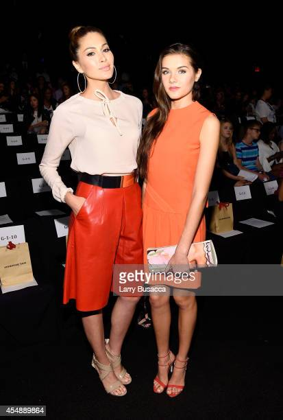 Miss Universe Gabriela Isler and Miss Teen USA K Lee Graham attend the Vivienne Tam fashion show during MercedesBenz Fashion Week Spring 2015 at The...