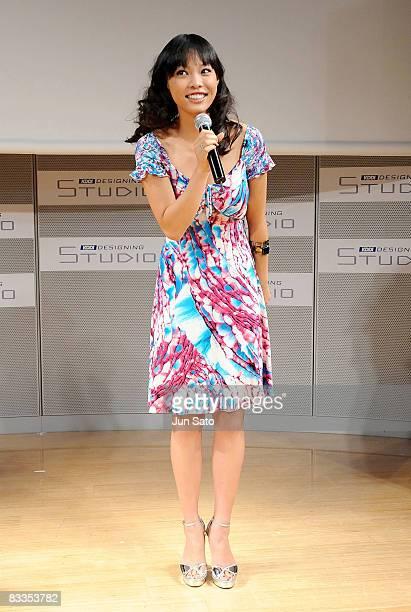 Miss Universe Japan 2008 Hiroko Mima attends the 2009 Miss Universe Japan Kickoff Press Conference at KDDI Designing Studio on October 20 2008 in...