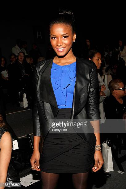 Miss Universe Leila Lopes attends the Venexiana Fall 2012 fashion show during MercedesBenz Fashion Week at The Studio at Lincoln Center on February...
