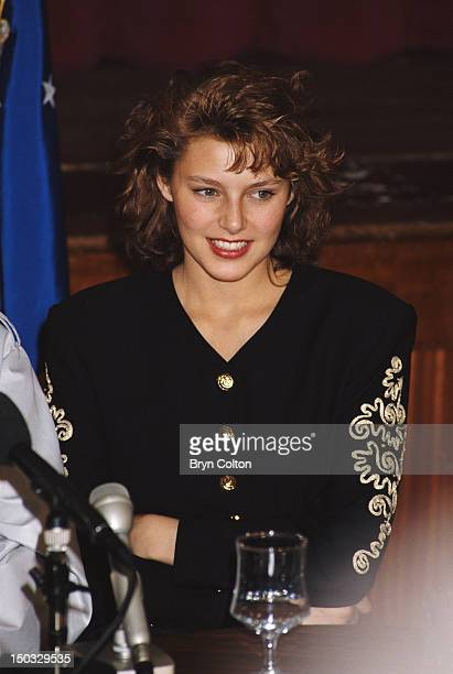 Miss Universe Mona Grudt at RAF Mildenhall in Sussex May 1990 She is appearing in a Bob Hope show at the Bob Hope Community Center on the base
