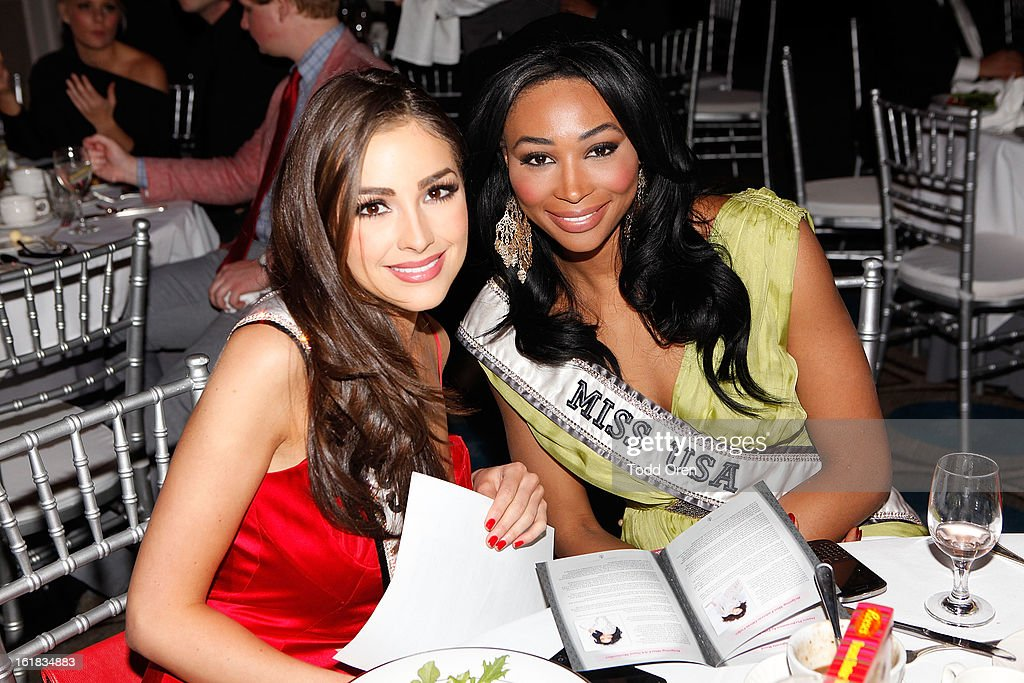 Miss Universe Olivia Culpo and Miss USA Nana Meriwether pose at the Date for the Cure To Benefit Susan G. Komen For The Cure on February 16, 2013 in Universal City, California.