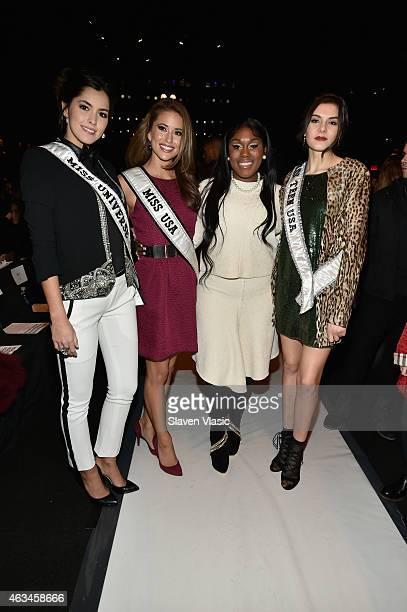 Miss Universe Paulina Vega Miss USA Nia Sanchez Tarralyn Ramsey and Miss Teen USA K Lee Graham attend the Academy of Art University fashion show...