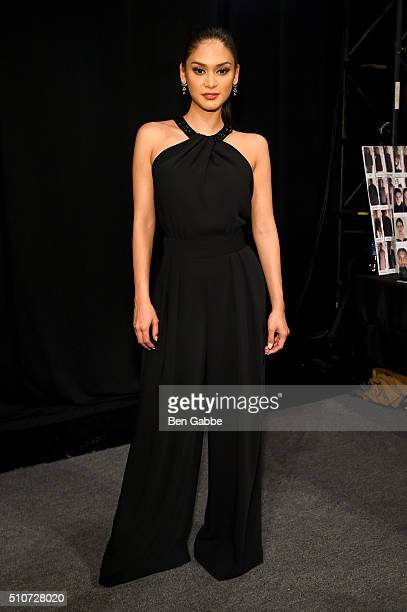 Miss Universe Pia Alonzo Wurtzbach backstage at Carmen Marc Valvo F/W 2016 at The Arc Skylight at Moynihan Station on February 16 2016 in New York...