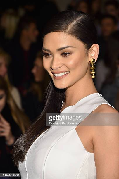 Miss Universe Pia Wurtzbach attends the Monique Lhuillier Fall 2016 fashion show during New York Fashion Week The Shows at The Arc Skylight at...