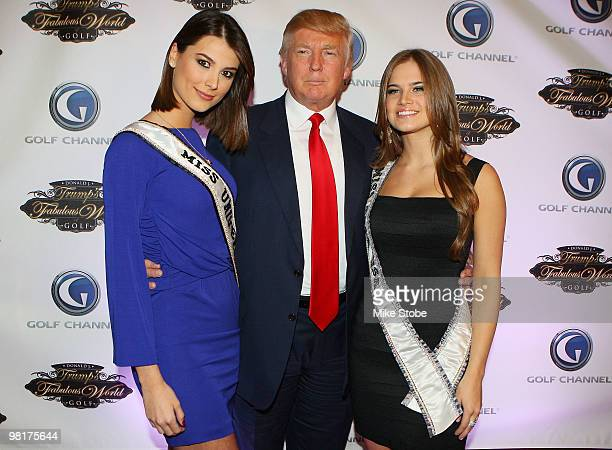 Miss Universe Stefania Fernandez Donald Trump and Miss Teen USA Stormi Bree Henley pose for a photo prior to a special screening of Golf Channel's...