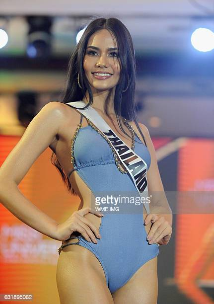Miss Universe Thailand Chalita Suansane walks the runway during a swimsuit fashion show at Jpark Island Resort and Waterpark on January 17 in Cebu...