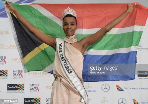 Miss Universe Zozibini Tunzi at the Miss Universe Official Homecoming Welcome at the OR Tambo International Airport on February 08 2020 in...