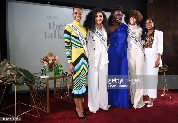 Miss Universe Zozibini Tunzi Miss USA Cheslie Kryst Bozoma Saint John Miss Teen USA Kaliegh Garris and Miss America 2019 Nia Franklin pose at NYFW...