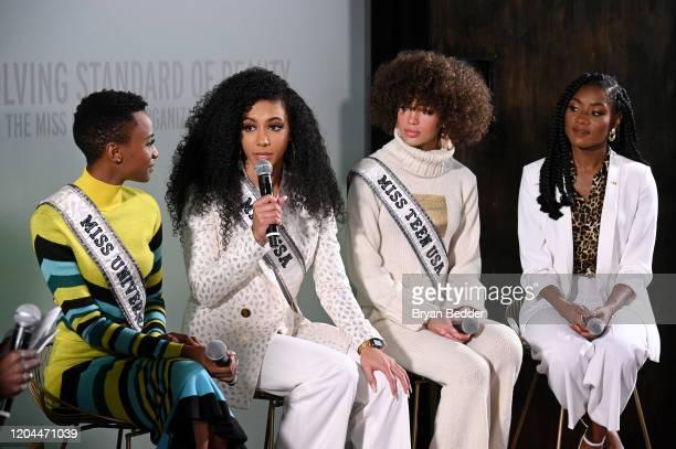 Miss Universe Zozibini Tunzi Miss USA Cheslie Kryst Miss Teen USA Kaliegh Garris and Miss America 2019 Nia Franklin speak at NYFW The Talks The...