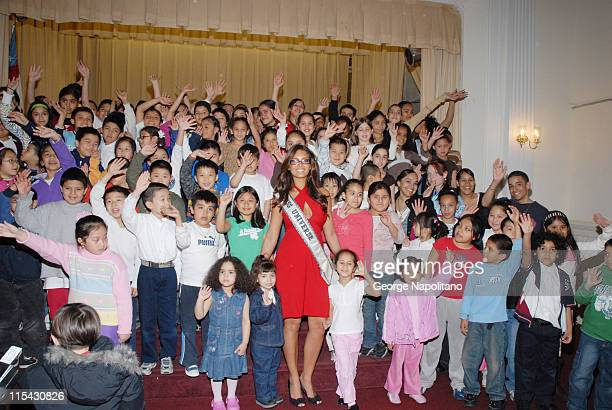 Miss Universe Zuleyka Rivera and the students during Zuleyka Rivera Joins Forces with Children of the City to Battle Educational Hurdles for the...