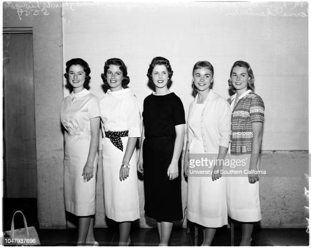 Miss University of Southern California finalists, 5 May 1959. Lynn Husted;Arlene Hancey;Sylvia Rudd;Linda Livingston;Connie Chamberlain.;Caption slip...