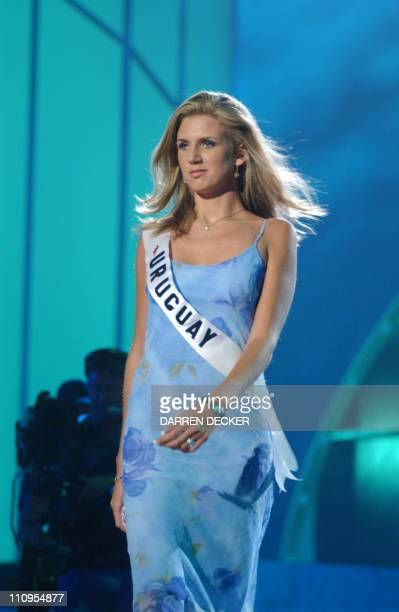 Miss Uruguay 2002 Fiorella Fleitas rehearses for the 2002 Miss Universe Competition 26 May 2002 in San Juan Puerto Rico The 51st Annual Miss Universe...
