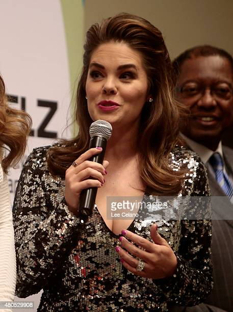 Miss USA 1999 Kimberly Pressler speaks during 2015 Miss USA Pageant Only On ReelzChannel Press Conference at The Baton Rouge River Center on July 12...