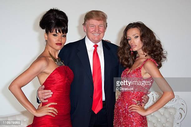 Miss USA 2003 Susie Castillo Donald Trump and Miss Kosovo 2008 Zana Krasniqi attend a photocall at Chelsea Piers Studio 59 on July 27 2011 in New...