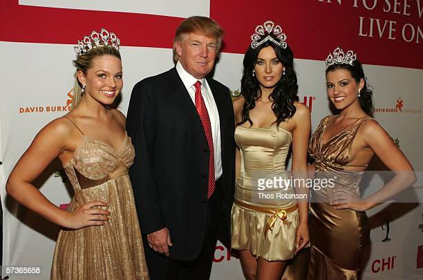 Miss USA 2005 Chelsea Cooley Donald Trump Miss Universe 2005 Natalie Glebova and Miss Teen USA 2005 Allie LaForce attend 'Universal Beauty The Miss...