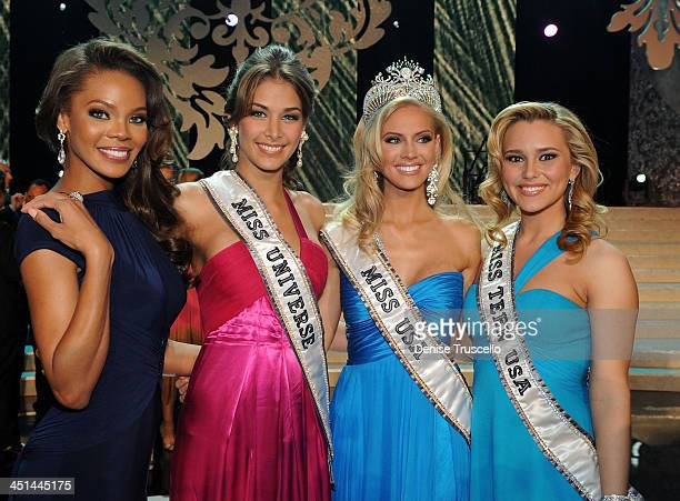 Miss USA 2008 Crystle Stewart Miss Universe 2008 Dayana Mendoza Miss USA 2009 Kristen Dalton and Miss Teen USA Stevi Perry pose for photos at the...