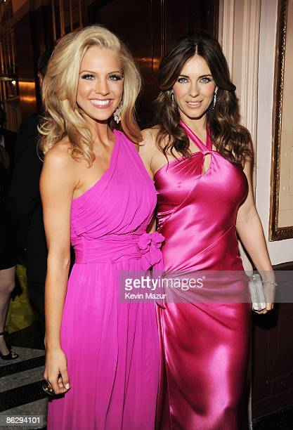 Miss USA 2009 Kristen Dalton and actress Elizabeth Hurley attend The Breast Cancer Research Foundation Party sponsored by Blackberry and Verizon...