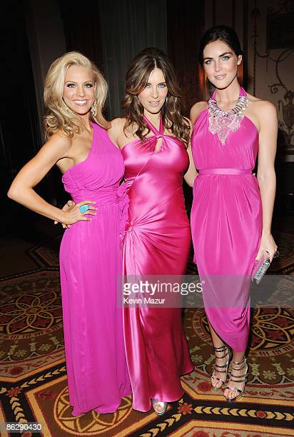Miss USA 2009 Kristen Dalton model Hilary Rhoda and actress Elizabeth Hurley attend The Breast Cancer Research Foundation Party sponsored by...