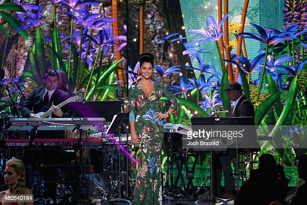 Miss USA 2010 Rima Fakih poses onstage at the 2015 Miss USA Pageant Only On ReelzChannel at The Baton Rouge River Center on July 12 2015 in Baton...