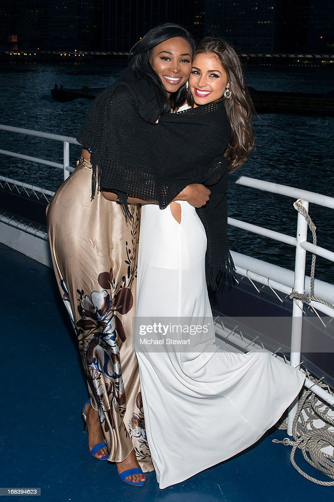 Miss USA 2012 Nana Meriwether (L) and Miss Universe 2012 Olivia Culpo attend Olivia Culpo's 21st Birthday Celebration at World Yacht - The Duchess on May 8, 2013 in New York City.