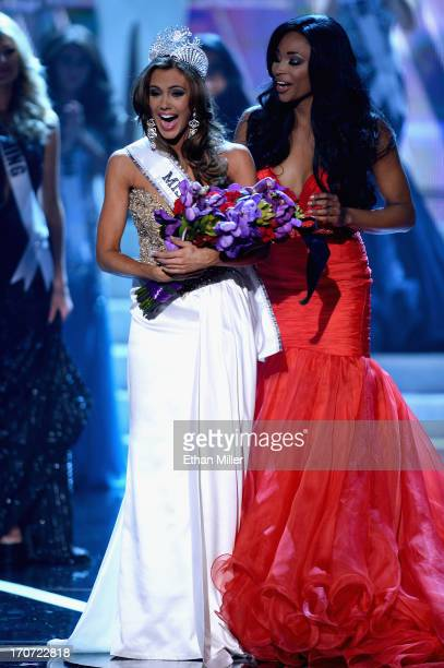 Miss USA 2012 Nana Meriwether crowns Miss Connecticut USA Erin Brady the new Miss USA during the 2013 Miss USA pageant at PH Live at Planet Hollywood...