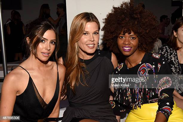 Miss USA 2012 Olivia Culpo Mary Alice Stephenson and Stylist Carmen Lilly attend the Supima Design Competition fashion show during Spring 2016 New...