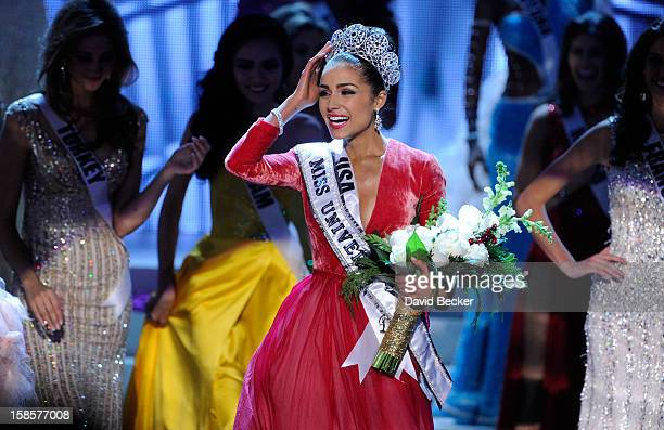 Miss USA 2012 Olivia Culpo reacts after being named the 2012 Miss Universe during the 2012 Miss Universe Pageant at PH Live at Planet Hollywood...